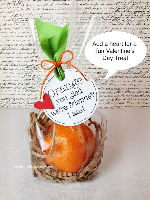 "It's Written on the Wall:   Looking for a Valentine's Day Treat for the kids, or the kid's classroom?  Birthday Parties, or party food? ""Orange You Glad We're Friends? I am! #Crafts"