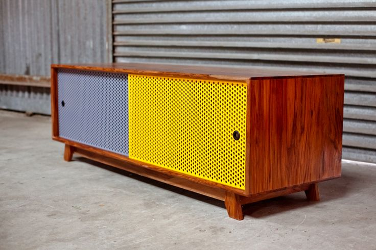 Hand-crafted timber & steel slider cabinet. Each piece handmade by Ian Rouse.
