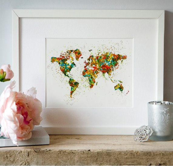 Map of the world Watercolor Wall art Digital art by Artsyndrome