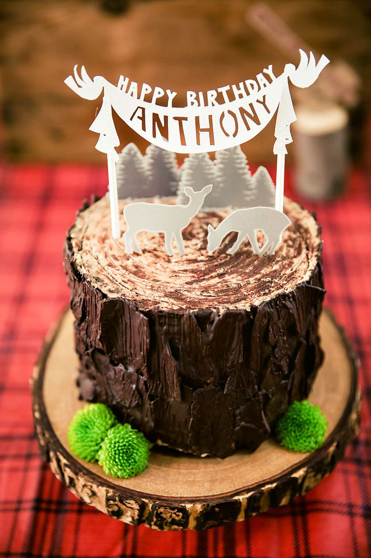 Rustic & Burly Lumberjack Bash Party Cake {Triplet First Birthday Party}