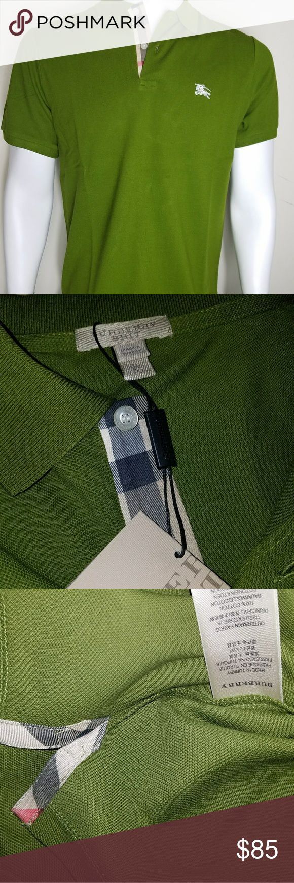 """Burberry brit men's racing green check polo shirt Burberry brit men's racing green nova  check placket  polo shirt SMALL ARMPIT TO ARMPIT:19""""(INCHES),TOP OF THE SHOULDER TO BOTTOM HEM:27.5""""(INCHES), ARMPIT TO END OF SLEEVE:3.5""""(INCHES) MEDIUM ARMPIT TO ARMPIT:20""""(INCHES),TOP OF THE SHOULDER TO BOTTOM HEM:28.5""""(INCHES), ARMPIT TO END OF SLEEVE:3.5""""(INCHES) XL ARMPIT TO ARMPIT:22""""(INCHES),TOP OF THE SHOULDER TO BOTTOM HEM:29""""(INCHES), ARMPIT TO END OF SLEEVE:3.5""""(INCHES) XXL ARMPIT TO…"""