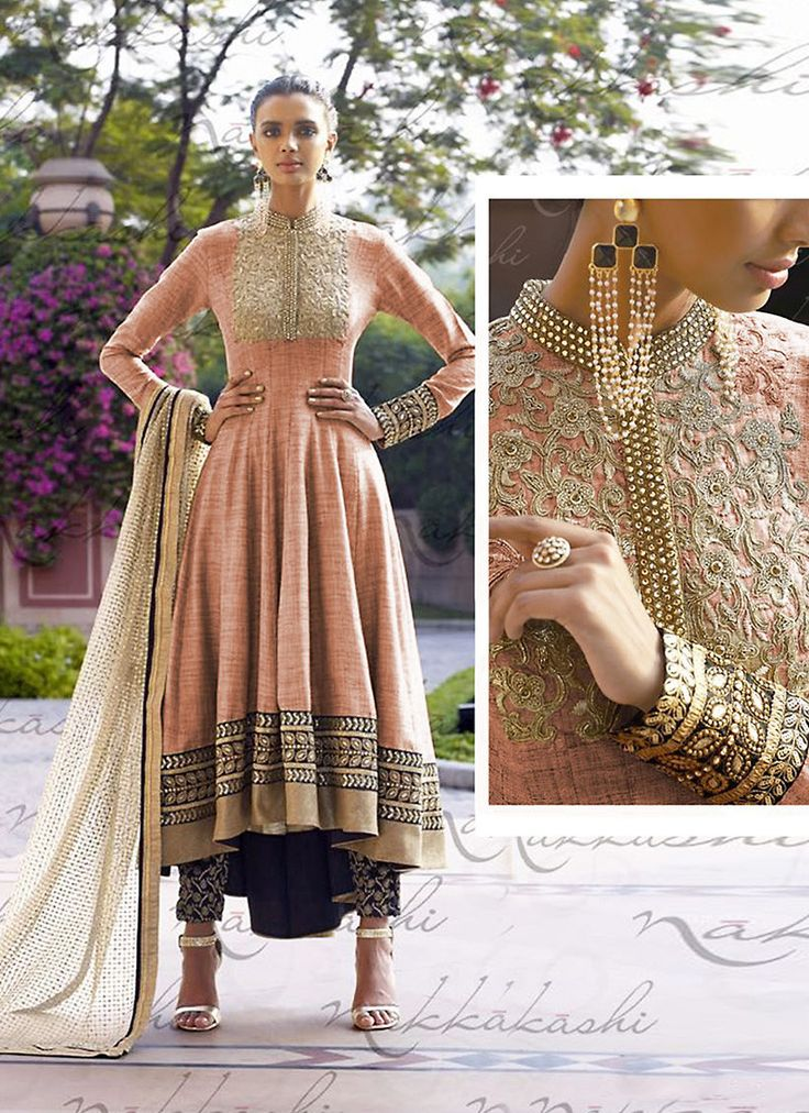 Anarkali Style Pink Color with Crystals Stones Work Incredible Unstitched Salwar…