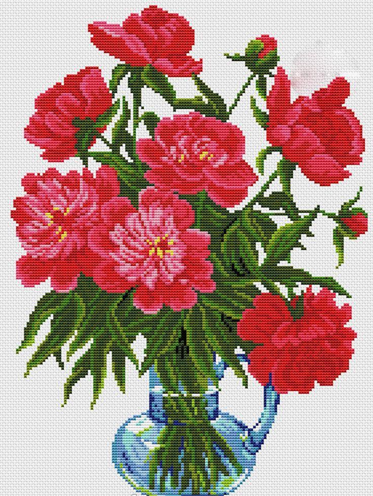 Kanaviçe Kırmızı Çiçek Şablonları (1)