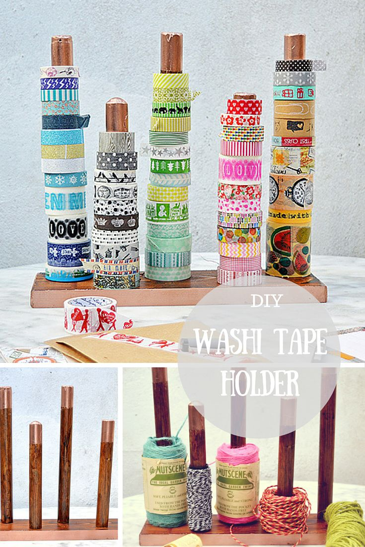 Make some great craft room storage by upcycling a broom handle into a washi tape holder.  Can also be used for ribbon and twine.