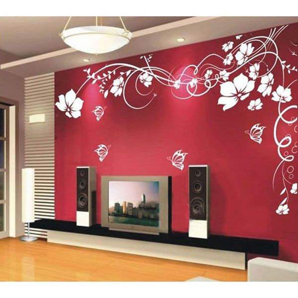 Large vine flower butterfly wall stickers art wall decal