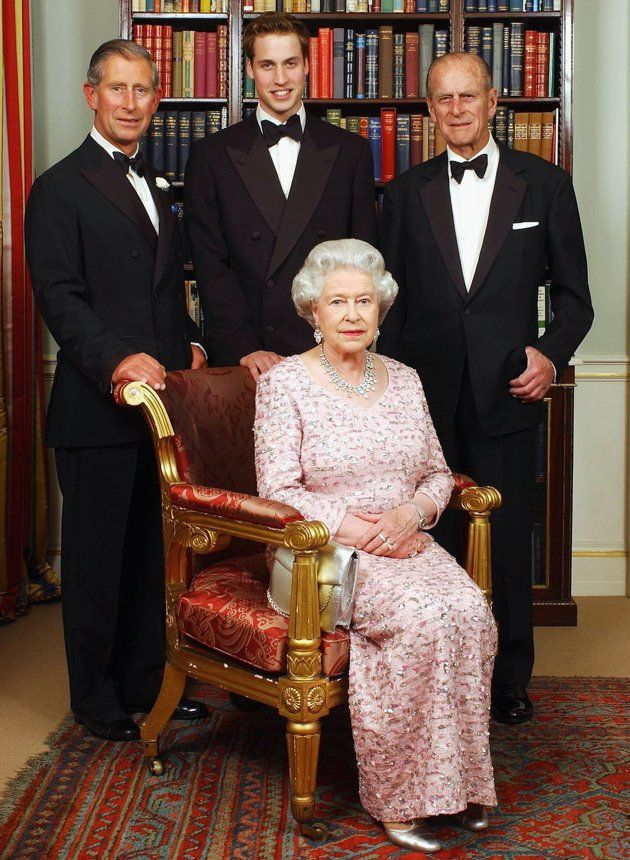 3 Generations ~ Prince William (center) with his father, Prince Charles (left), and grandparents, The Queen and The Duke of Edinburgh
