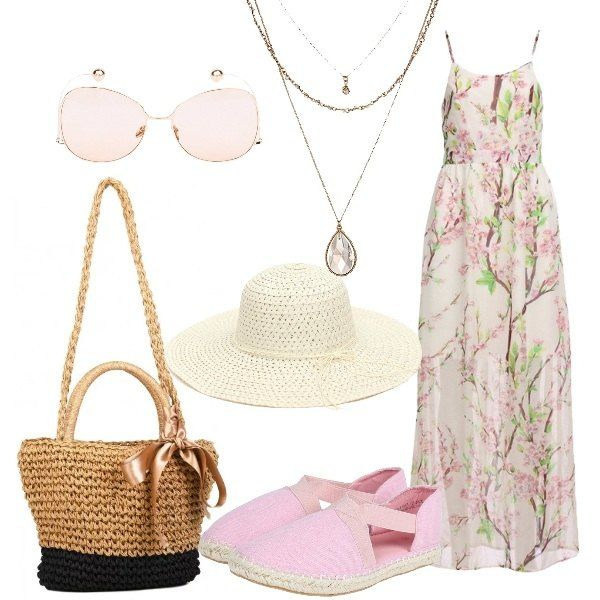 Un outfit di ispirazione romantica composto da abito lungo rosa chiaro con stampa a fiori di ciliegio, arioso e leggero, scollo tondo, spalline sottili, espadrillas rosa con fascette elastiche, borsa in paglia a tracolla in simil paglia con fiocco. Cappello di paglia con cinturini, tesa ampia, occhiali da sole nude, con stanghette incurvate, collana tripla dorata, con zircone a goccia.