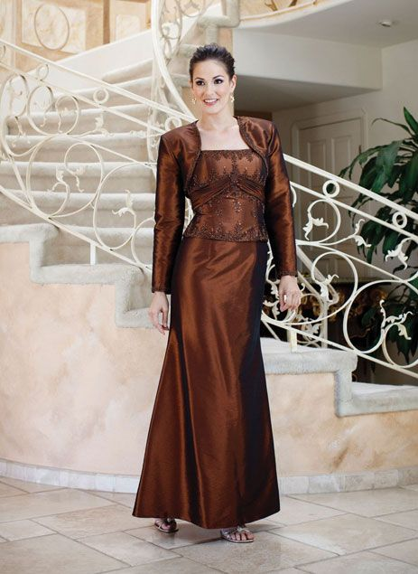 Fashionable A-line natural waist taffeta mother dress of the bride