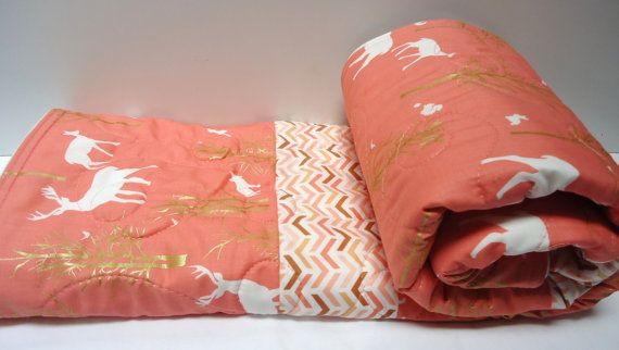 Modern Baby Quilt-Rustic Baby Girl Bedding-Woodland Animal-Coral-Peach-Chevron-Deer-Fox Baby Blanket on Etsy, $103.96 AUD