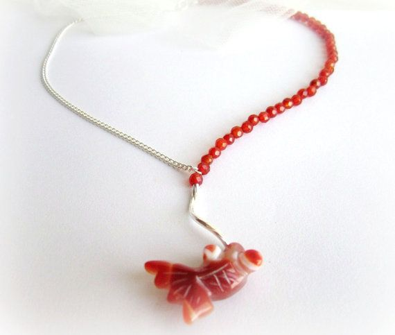 Fish necklace carnelian necklace y necklace by MalinaCapricciosa