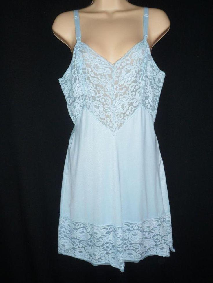 Vintage GORGEOUS BLUE DEEP LACE HEM BUST 36 M Full Slip Dress Nylon Baronet #Baronet #Slip