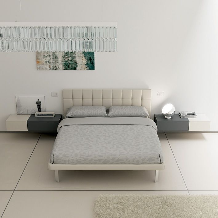 #Letto Soul slim matrimoniale in ecopelle corda su piedi cromati Club #Wallbox sospesi a un #cassetto push-pull in frassino bianco e laccati grafite a poro aperto. YC37 catalogo Team for Young www.moretticompact.com