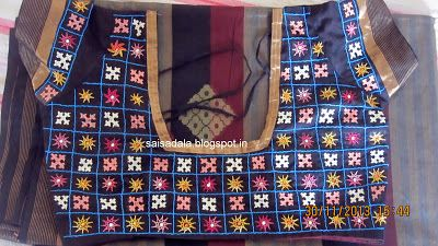 Sadala's Embroidery: Kutch work, Cable Stitch, Half Anklet Stitch: Saree Blouse