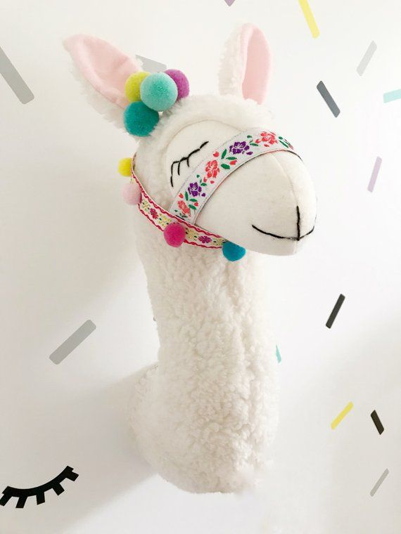 Llama Stuffed Animal Head Wall Mount Decor For Kids Room Nursery