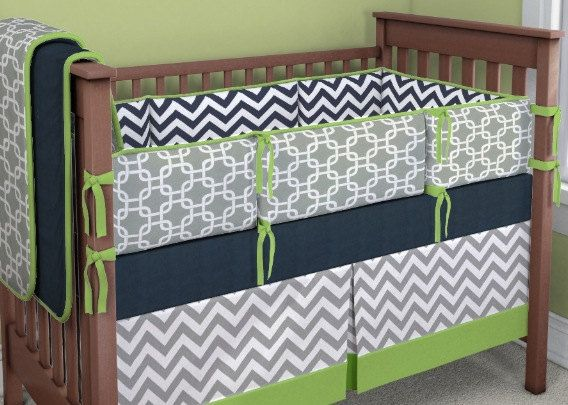 Lime green gray and navy crib bedding - Navy blue and green bedding ...