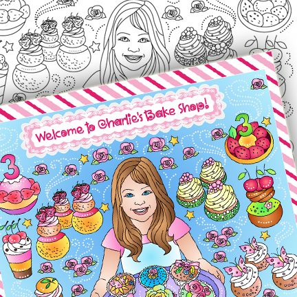 Nicole's party coloring pages: BAKE SHOP * CUSTOM PARTY COLORING PAGE