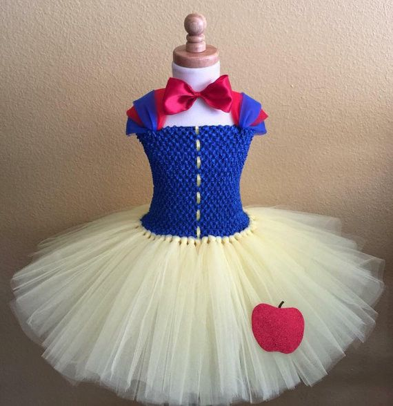Snow White Inspired Tutu Dress This beautiful snow white inspired tutu dress is simply elegant for your sweet little princess. Great for Halloween costumes, birthdays, gifts, photo props or just fun d