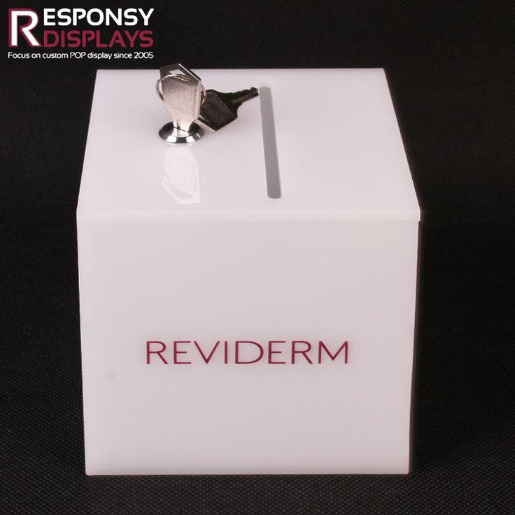 Small Countertop White Acrylic Display Box For Money Saving