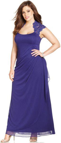 Xscape Plus Size Cap Sleeve Lace Gown in Purple (Purple Berry)