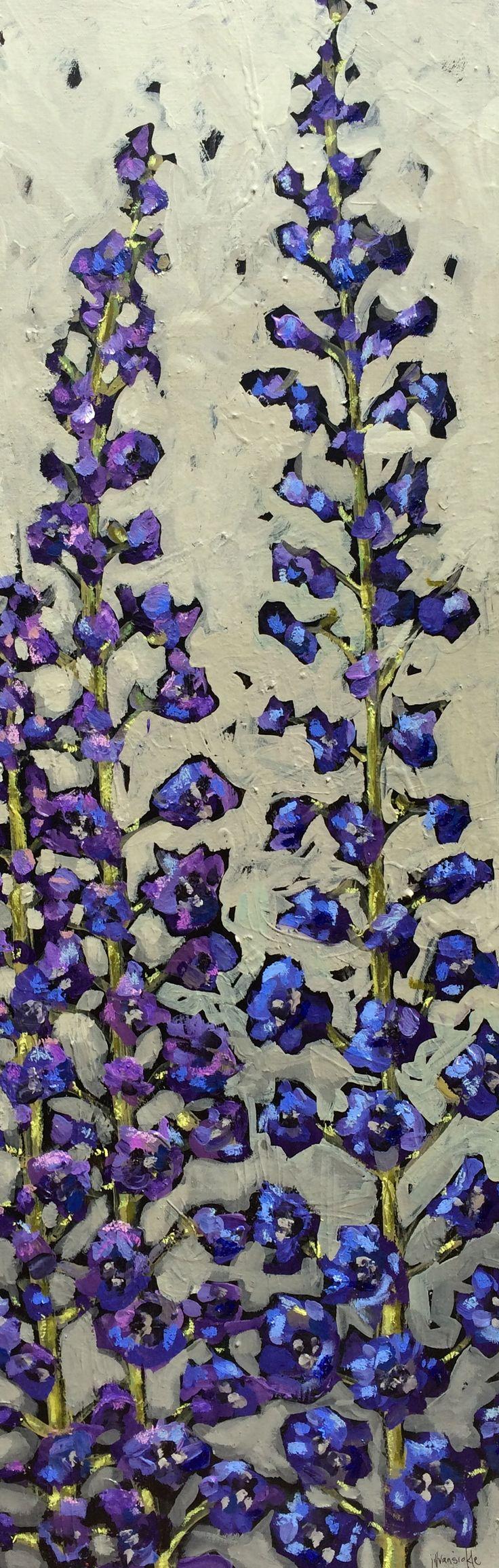 www.jillvansickle.com  Larkspur, delphinium, painting, art, artwork, canvas, blues, floral, flowers