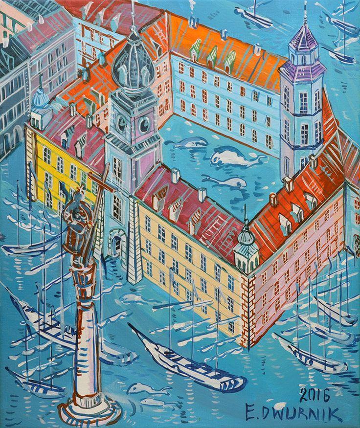 "ArtGalery ° PERSONALART.PL tytuł: ""Plac Zamkowy"" (Warszawa) autor: Edward Dwurnik personalart.pl/Edward-Dwurnik"