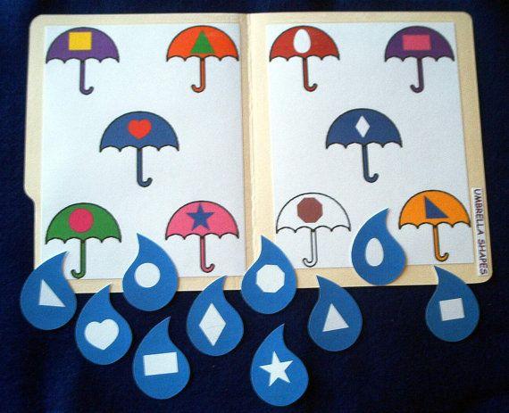 Spring Umbrellas and Raindrops Shapes