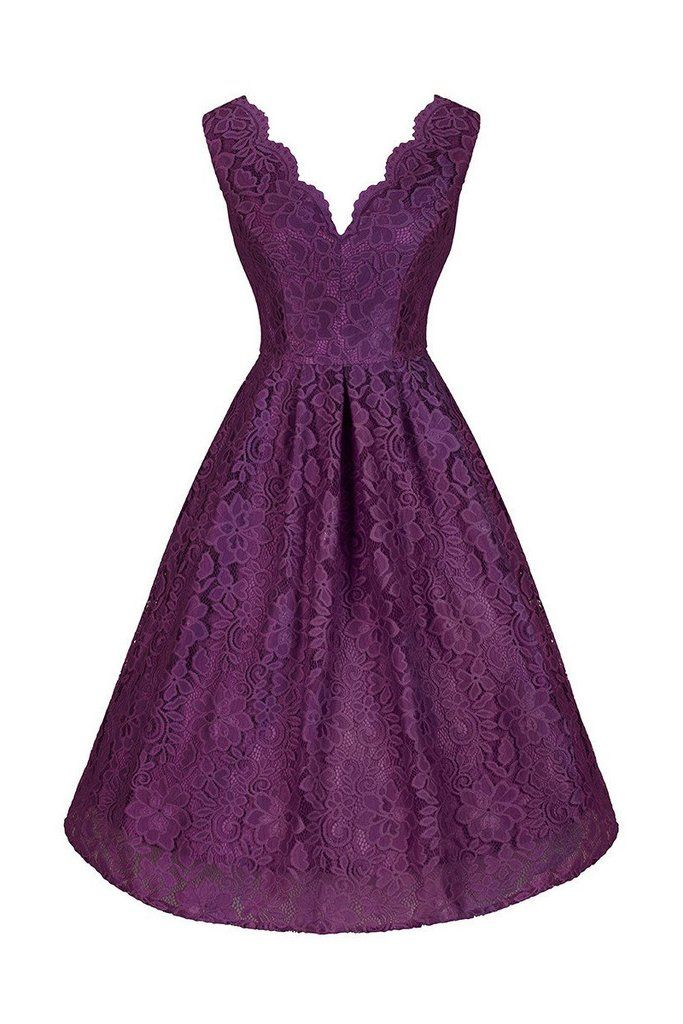 Purple Lace Embroidered Swing Dress