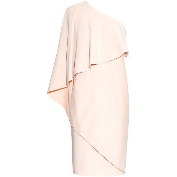 Givenchy One-shoulder stretch-cady dress (15,490 MYR) ❤ liked on Polyvore featuring dresses, robe, short dresses, vestidos, light pink, pink dress, one-sleeve dress, one sleeve cocktail dress, givenchy dress and mini dress