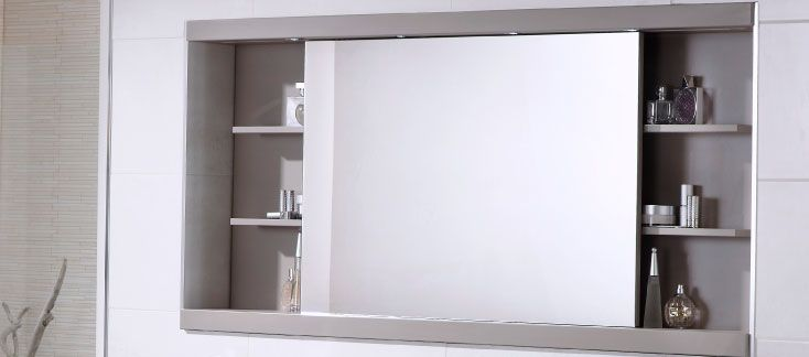 sliding mirror cabinet with integrated led lighting made from high