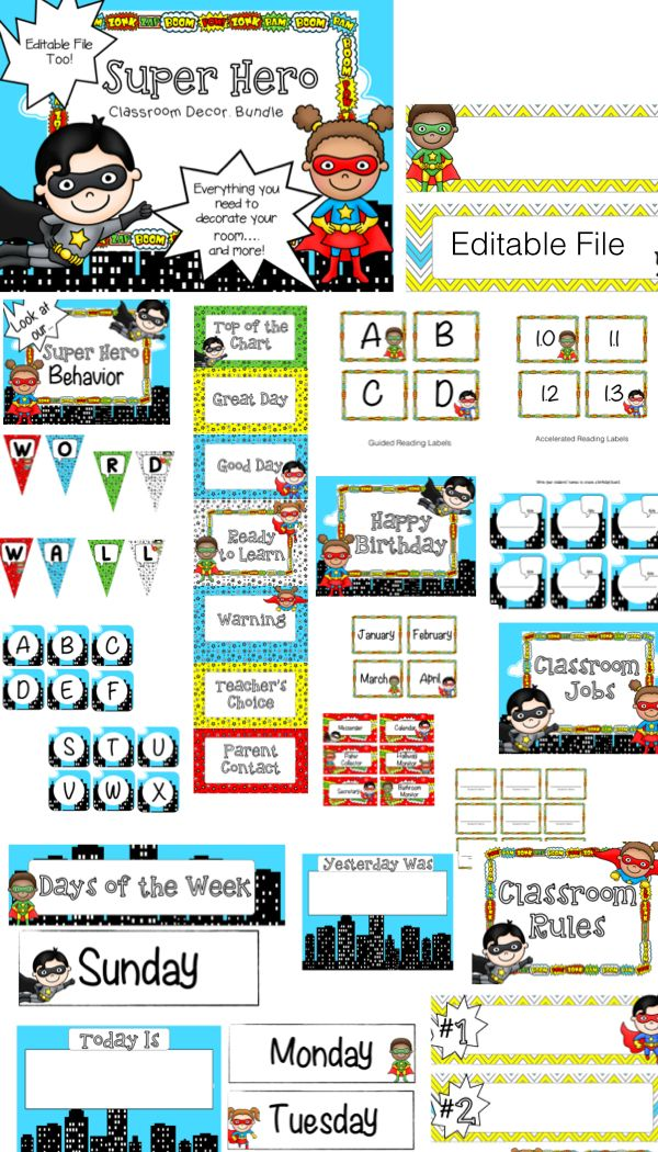Super Hero Classroom Theme decor. Everything you need {Editable too!}