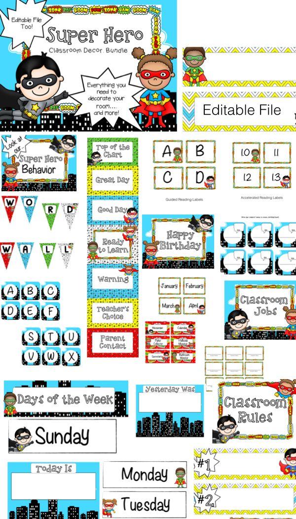 Super Hero Classroom Theme decor. Everything you need {Editable too!}
