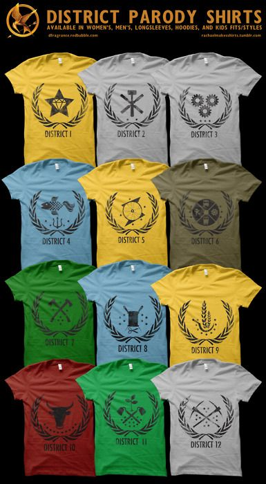 Hunger Games district shirts. Why isn't there a District 13 shirt? That is the one I really want