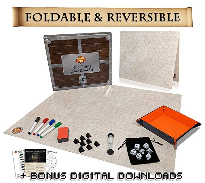 Amazon Com Foldable Rpg Battle Grid Game Mat Set 27 X 23 Fold Flat Reversible With 1 Squares Hexes Dry Erase Board Markers Rol Rpg Gifts Grid Game