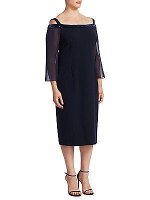 Marina Rinaldi, Plus Size Cold Shoulder Shift Dress