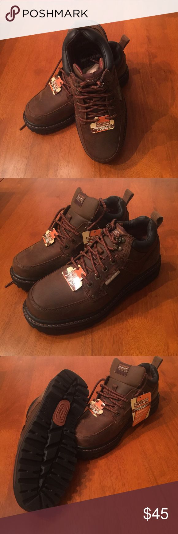 Sketchers Men's Leather Hiking Shoes Size 8 Sketchers men's hiking low rise hiking boots.  Color is dark brown.  Size 8. These memory foam insole boots are very comfortable and relaxed fit. Skechers Shoes Boots
