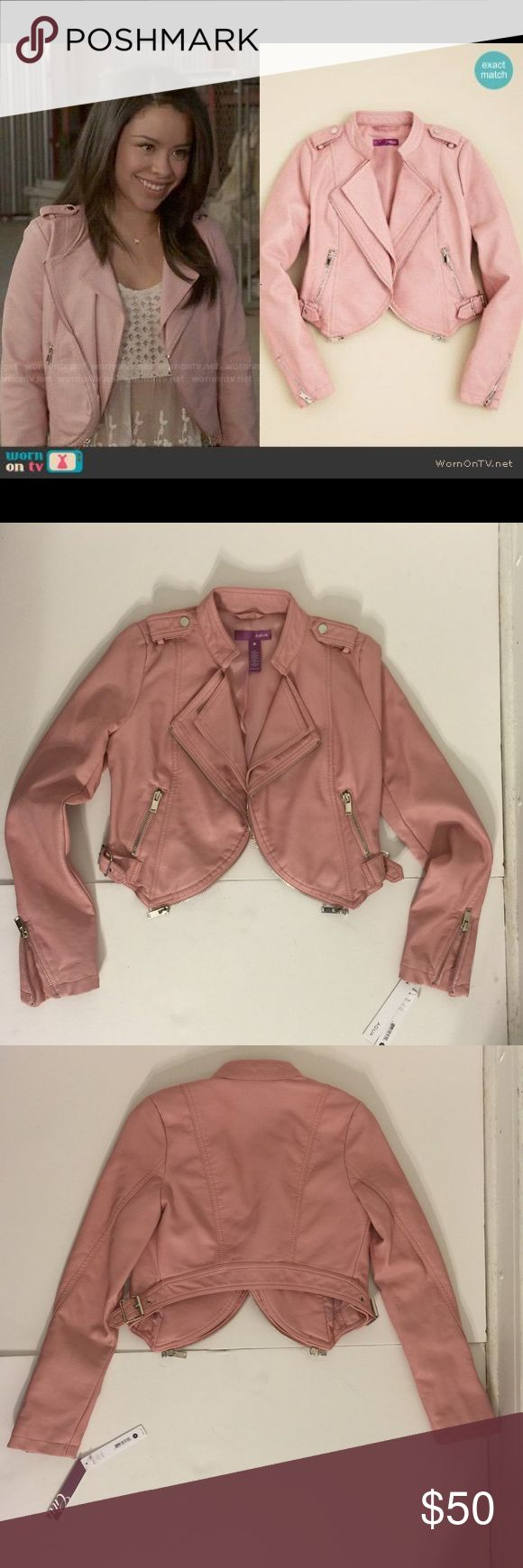 6-6x girls NWT Aqua (Brand) Faux Leather Jacket. NWT Aqua (brand not color) Girls/kids Faux Leather Moto Jacket in Peony Pink. Size Small. According to Aqua's size chart a small should fit : 6-6x. For more specific size information please see the size chart for Aqua girls on Bloomingdales.com. Also, please note that the jacket was not designed to zip closed. I wish this jacket would fit me. :) It's adorable! (Never worn) Aqua Jackets & Coats