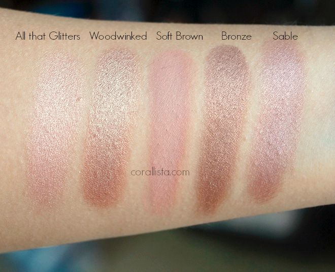 MAC eye shadow swatches - All that Glitters, Woodwinked, Soft Brown, Bronze, Sable