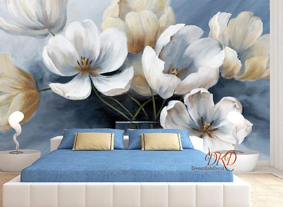 Large flower Wall Murals, Wallpaper, White flower on Blue Wall, Oil painting effect wall, Modern Home Decor, Wall Art