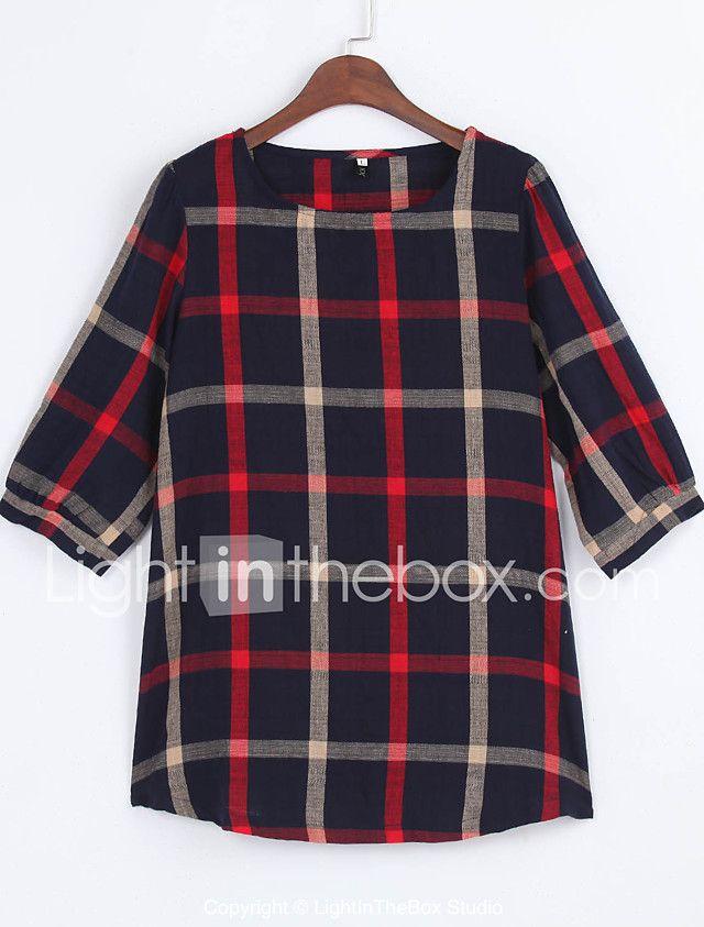 Women Ladies Blouse Plaid Print O Neck 3/4 Sleeve Plus Size Casual Loose Vintage Shirt Tops 2017 - $8.54