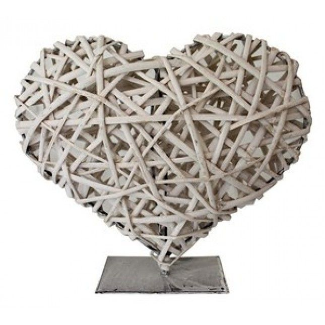 Whitewash Wicker Heart, Enchanted Emporium