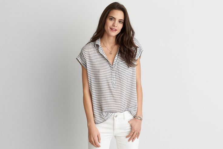 AEO Striped Popover , Gray | American Eagle Outfitters