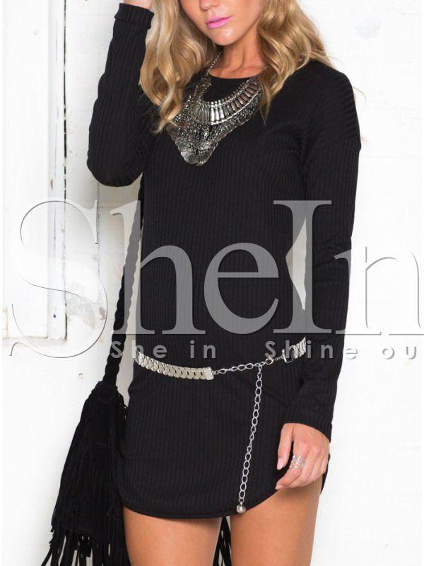 Black Long Sleeve Round Neck Dress 9.99