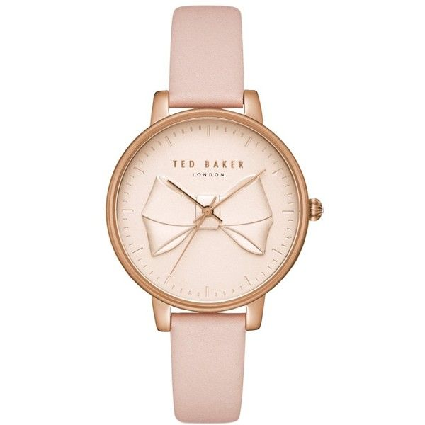 Women's Ted Baker London Brook Leather Strap Watch, 36Mm ($155) ❤ liked on Polyvore featuring jewelry, watches, leather strap watches, ted baker jewellery, bow jewelry, ted baker and dial watches