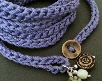 Crochet wrap bracelet or necklace beaded petals by CoffyCrochet