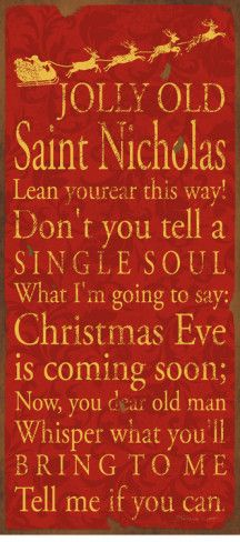 """Jolly Old St. Nicholas"" ... Poster by Stephanie Marrott"