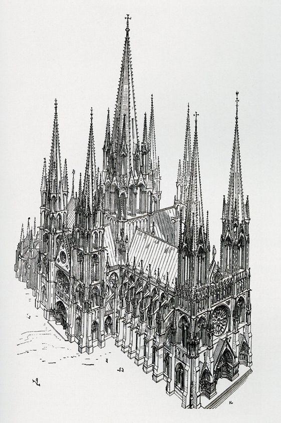 La cath drale id ale selon eug ne viollet le duc dessin for Dictionnaire des architectes