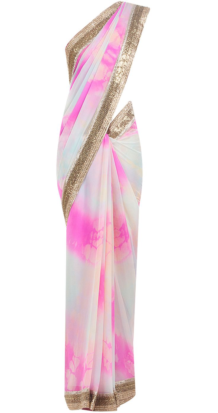 Candy pink shaded sari by SUNEET VERMA. Shop at http://www.perniaspopupshop.com/whats-new/suneet-verma