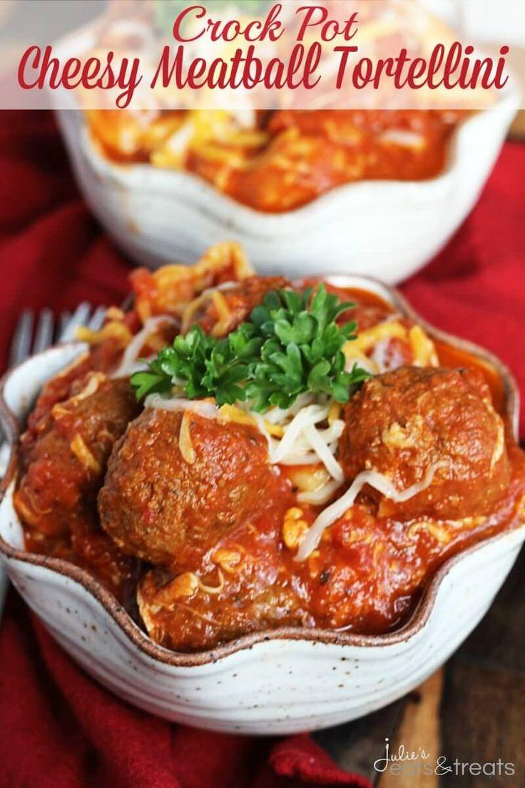 Crock Pot Cheesy Meatball Tortellini ~ Easy Dinner Perfect for a Busy Weeknight! Cheesy Tortellini Loaded with Meatballs in Spaghetti Sauce! ~ https://www.julieseatsandtreats.com