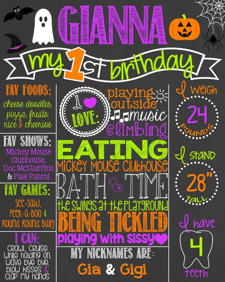 Halloween First Birthday Chalkboard Printable // Halloween Birthday // Fall Birthday Chalkboard // Boy or Girl // Pumpkin Party // DIGITAL by PersonalizedChalk on Etsy https://www.etsy.com/listing/192411968/halloween-first-birthday-chalkboard