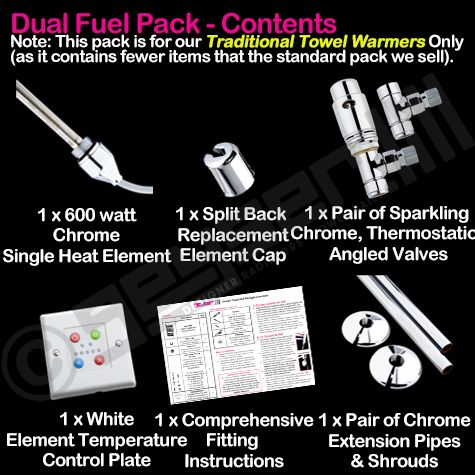 Dual Fuel Pack: 600w (for TRADITIONAL TOWEL WARMER) Variable Heat, Thermostatic Valves